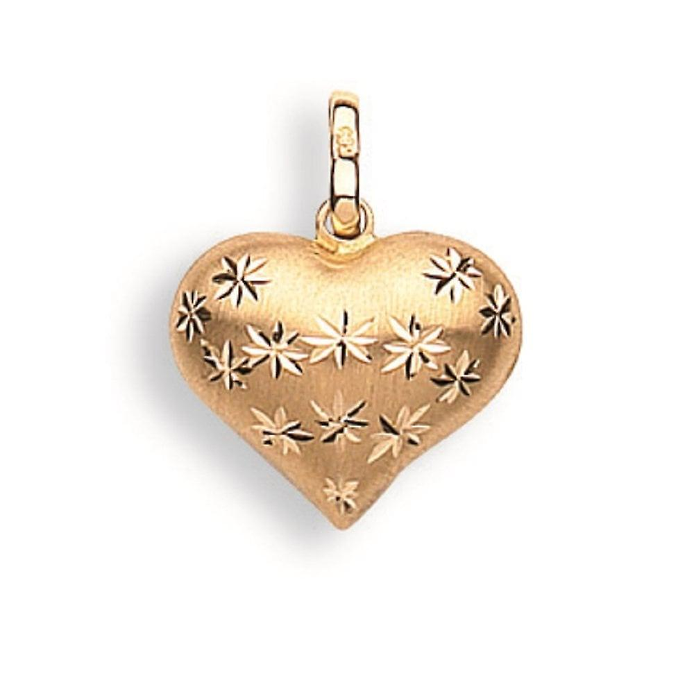 Eternity 9ct Gold Chunky Diamond Cut Heart Pendant And 16'' Trace Chain