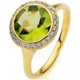 Gemstone Ring Diamonds 0.16ct. Peridot 2.56 ct. Size 54