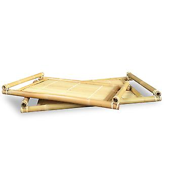 Set of 2 Natural Bamboo Nesting Trays