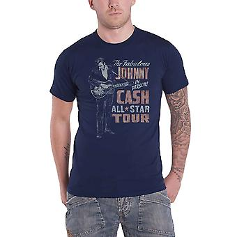 Johnny Cash T Shirt All Star Tour In Person new Official Mens Navy Blue