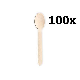 100 Wooden Spoons Spoon 16.5 Cm - Biodegradable Tableware 100 Pieces - Great For Parties BBQ Picnics And Events
