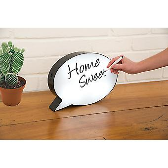 Speech Bubble Lightbox white-black, made of plastic, for marking, with pen and stencil.