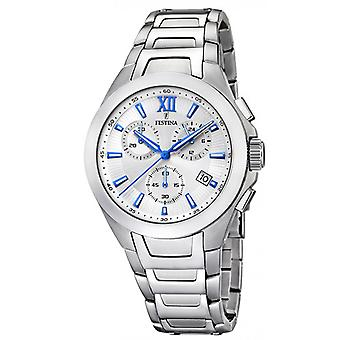 Festina chronograph F16678-7 tidløse ur - watch kronograf dato stål mand