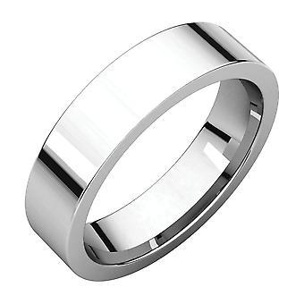 Platin 5mm flache Komfort Passen Band Ring Schmuck Geschenke für Frauen - Ring Größe: 6 bis 11
