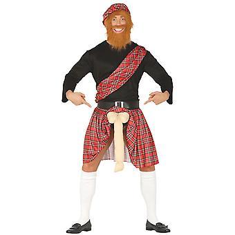Homme Écossais avec le costume de robe de fantaisie de surprise