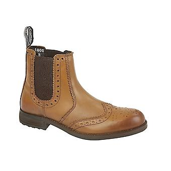 Roamers Tan Burnished Softie Leather Twin Gusset Brogue Ankle Boot Textile Lining Tpr Sole