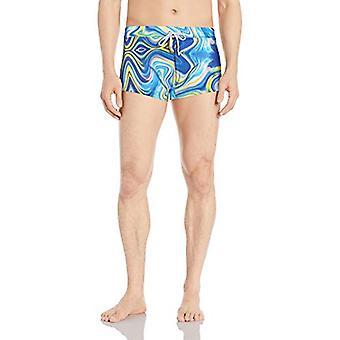 2(X)IST Men's Cabo Pattern Swim Trunk Swimwear, Mixed Wave Swirl/Blue, Medium