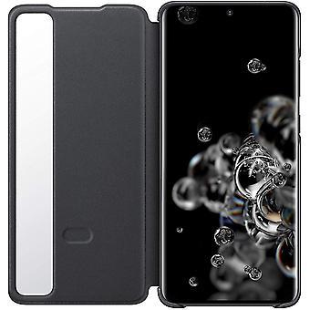 Aito virallinen Samsung Galaxy S20 Ultra 5G selkeä näkymä kansikotelo flip cover - musta