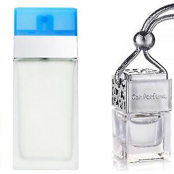 D & G Lyseblå For hendes inspirerede Fragrance 8ml Chrome Låg Flaske Hængende Bil Auto Air Freshener