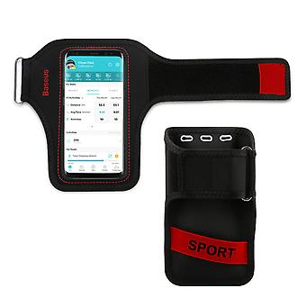 Sports Armband Smartphone up to 5'' Attachment Card Holder-Baseus Black/Red