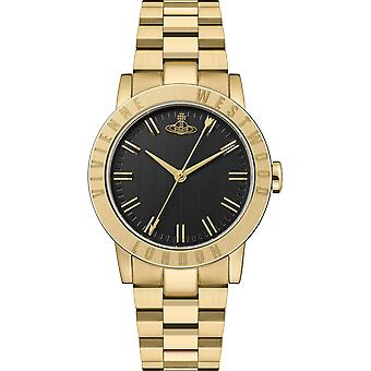 Vivienne Westwood The Warwick Quartz Black Dial Gold PVD Stainless Steel Ladies Watch VV213BKGD
