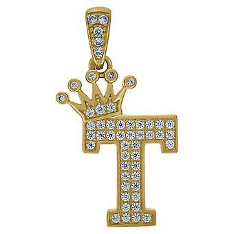 10k sárga arany férfi nők cubic cirkónia CZ koronázott levél neve személyre szabott monogram kezdeti T Charm medál nyaklánc