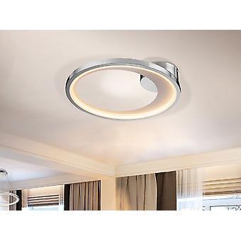 Schuller Laris - lampe de plafond LED, en métal, chrome et finition blanche mat. Diffuseur acrylique opale. 19.4W LED. 891lm. 3000 K. - 281483