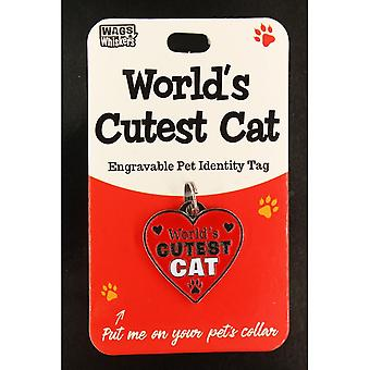 Wags & Whiskers Pet Cat Identity Tag - Worlds Cutest Cat