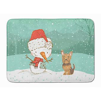 Yorkie Cropped Ears Snowman Christmas Machine Washable Memory Foam Mat