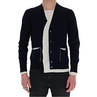 Alexander Mcqueen 610707q1alz4131 Men's White/blue Cotton Cardigan