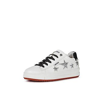 Geox j rebecca white lace up trainers