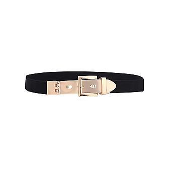 Donne 's Nero Elastico Cintura Metallo Buckle Trimmer