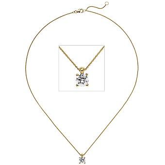 Women's Necklace Necklace with Pendant 585 Gold Yellow Gold 1 Diamond Brilliant 1.0ct. 45 cm