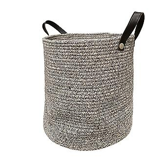 Cotton woven storage basket with faux leather handle 3pcs