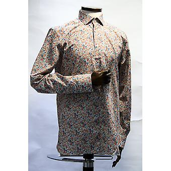 Maggiore White With Red & Blue Floral Pattern Shirt