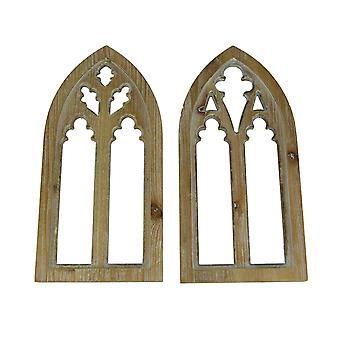 Whitewashed Wood Gothic Arch Window Frame Wall Decor 2 Piece Set