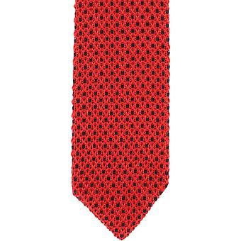 Michelsons of London Crows Foot Silk Knitted Tie - Red/Navy