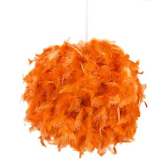 Eye-Catching and Modern Small Orange Feather Decorated Pendant Lighting Shade