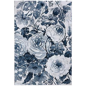 Supersofter Floral Kurzflor Teppich Peony Blau Creme