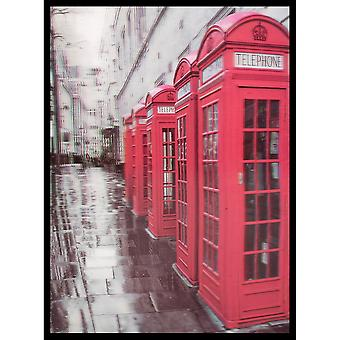W.A. 3D Wall Art Red British Phone Boxes Portrait Framed Lenticular Picture