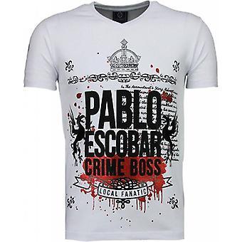 Pablo Escobar Boss - Rhinestone T-shirt - Wit