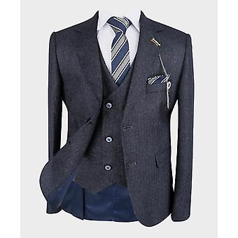 Boys Tailored fit Herringbone Patterned Navy Grey Suit Set