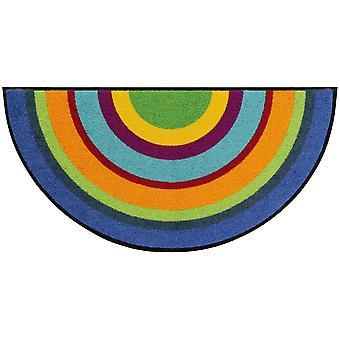 Salonloewe paillasson Varberg multicolore demi-rond 42 x 85 cm lavable tapis de saleté