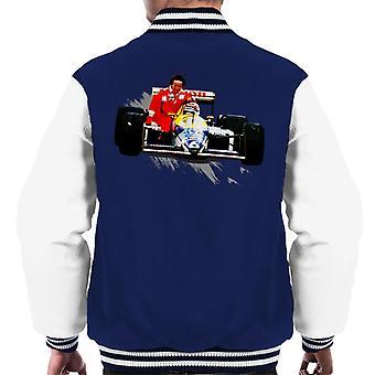 Motorsport Images Nelson Piquet Honda Gives Alain Prost A Lift German GP Men's Varsity Jacket