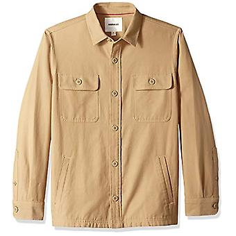Goodthreads Men's Military Broken Twill Shirt Jacket, -khaki, Medium