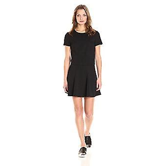 PARIS SUNDAY Women's Short Sleeve Textured Ponte 2 Piece Skirt Set, Black, X-...