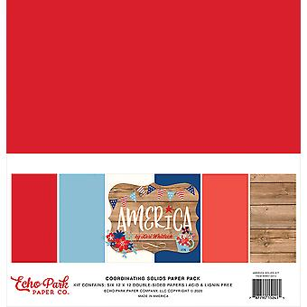 Pacote de papel Echo Park America 12x12 Polegadas Coordenando Sólidos