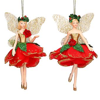 Single Gisela Graham Red Rose Fairy Hanging Bauble Ornamento