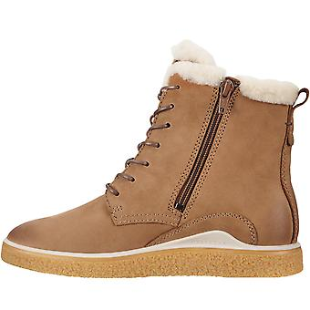 Ecco Womens Crepetray Leather Warm Winter Fur Lined Zip Up Boots - Camel