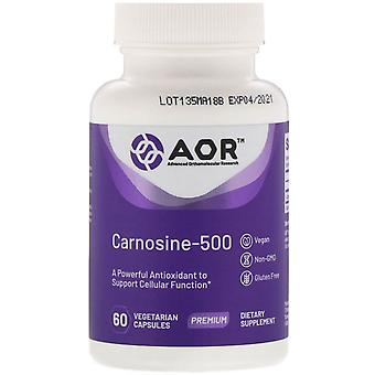 Advanced Orthomolecular Research AOR, Carnosine-500, 60 Capsules végétariennes