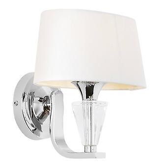 Endon Fiennes - 1 lys innendørs vegg lys krom, hvit Tc stoff, E14