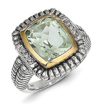 14k Antique finish Yellow 12X10 Green Amethyst Diamond Bezel Ring Jewelry Gifts for Women - Ring Size: 6 to 8