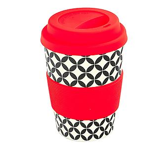 Rink Drink Bamboo Reusable Coffee Cup with Silicone Lid & Sleeve - 350ml - Retro Diamond - Red
