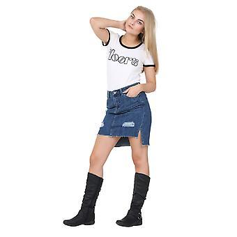 Short denim skirt - high-low hem raw hem distressed