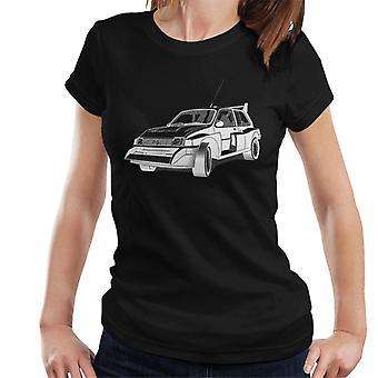 MG Metro 6R4 Svart og hvit Britisk Motor Heritage Kvinner's T-skjorte