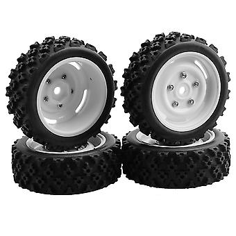 4x Rubber Tires White Plastic Wheels 12mm Hex with Screws for RC1:10 Car