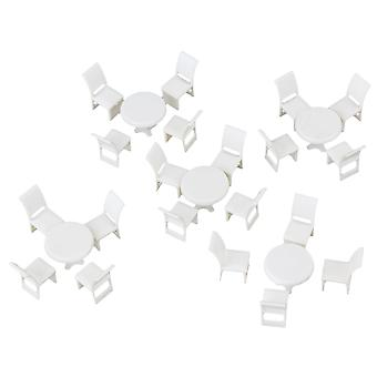 1:50 Scale Miniature Round Dining Room Table Chairs Set for Home DIY Use White