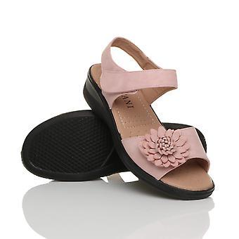 Ajvani kvinders lav kile hæl krog & loop rem slingback blomst komfort læder indersål sandaler