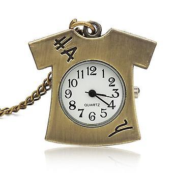 DEFFRUN Vintage Bronze Lovely T-shirt Design Necklace Pocket Watch