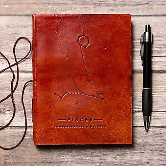 Poissons Zodiac Handmade Leather Journal
